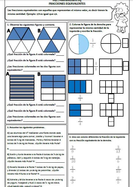 Ejercicios de fracciones equivalentes Primaria | Material Educativo