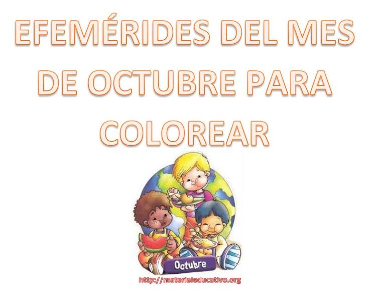 Efemérides Del Mes De Octubre En Dibujos Para Colorear