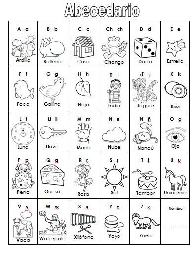 Maestra de Infantil: Abecedario para colorear ilustrado