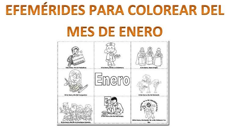 Efemérides del mes de enero para colorear | Material Educativo