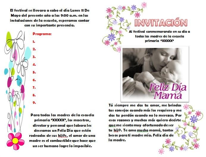 Invitación Para El Festival O Evento Del Día De Las Madres