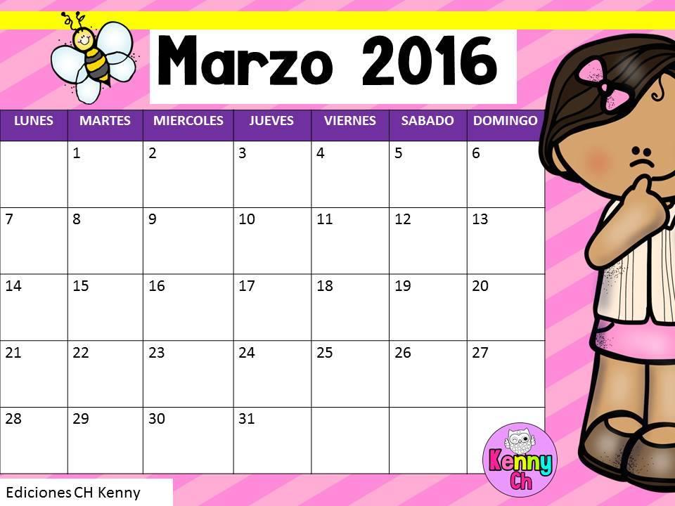 Calendario del mes de marzo en diseño | Material Educativo