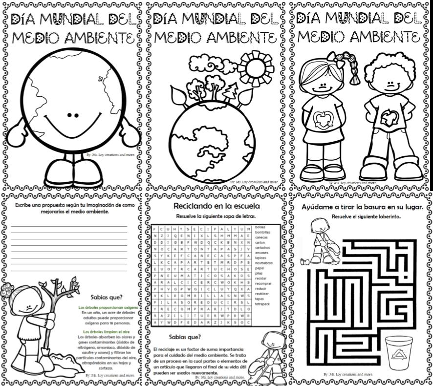 Día mundial del medio ambiente dibujos para colorear y actividades