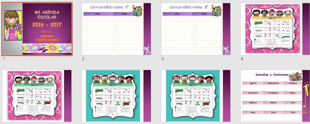 Mi bonita agenda escolar ciclo 2016 2017 material for Agenda moleskine 2016 2017
