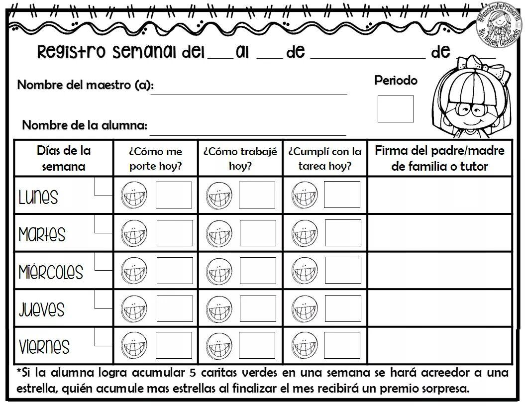 Excelente registro semanal de conducta trabajos y tareas for Porte y actitud