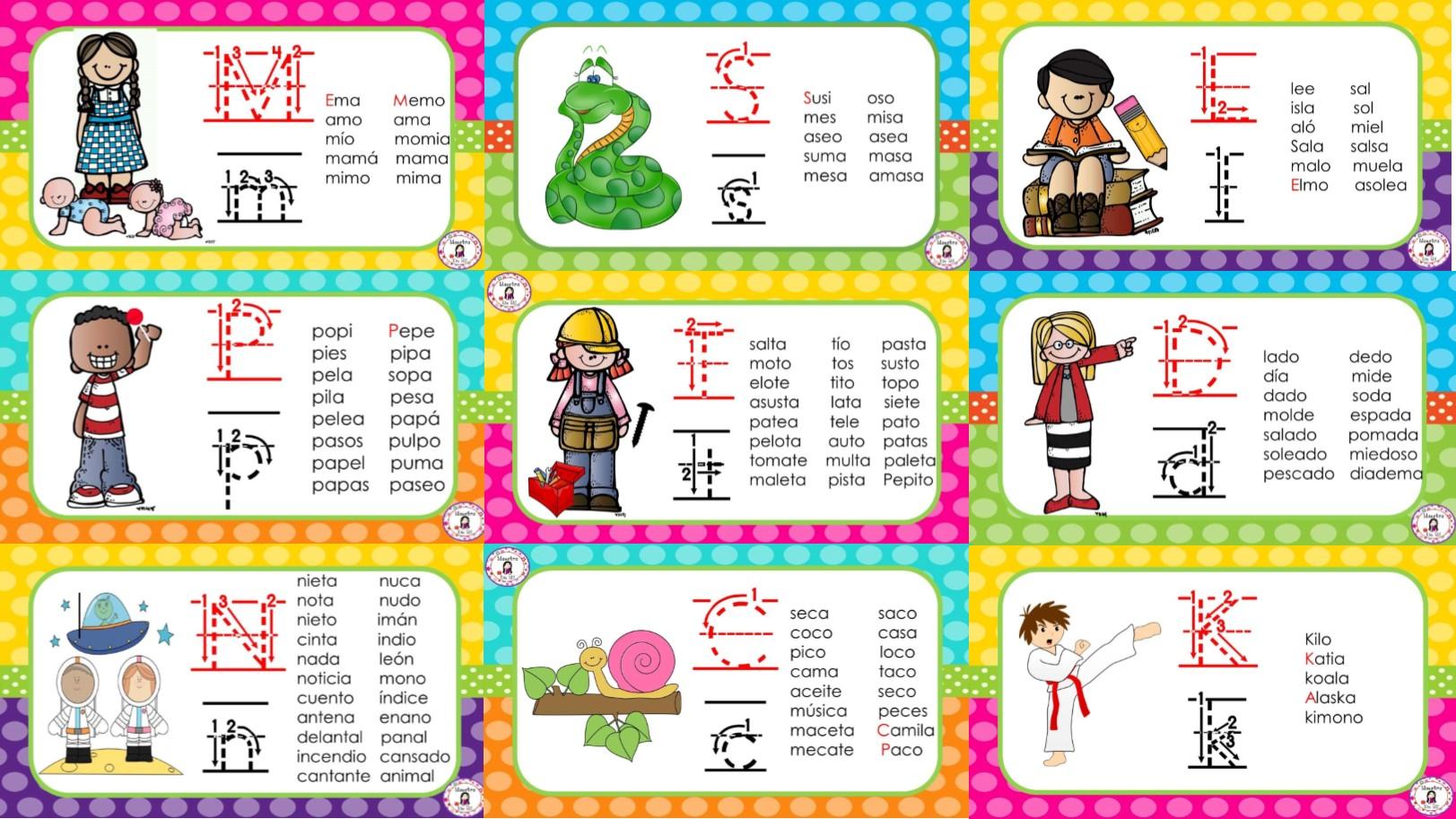Fabuloso material palabras de estudio por cada fonema para primer ...