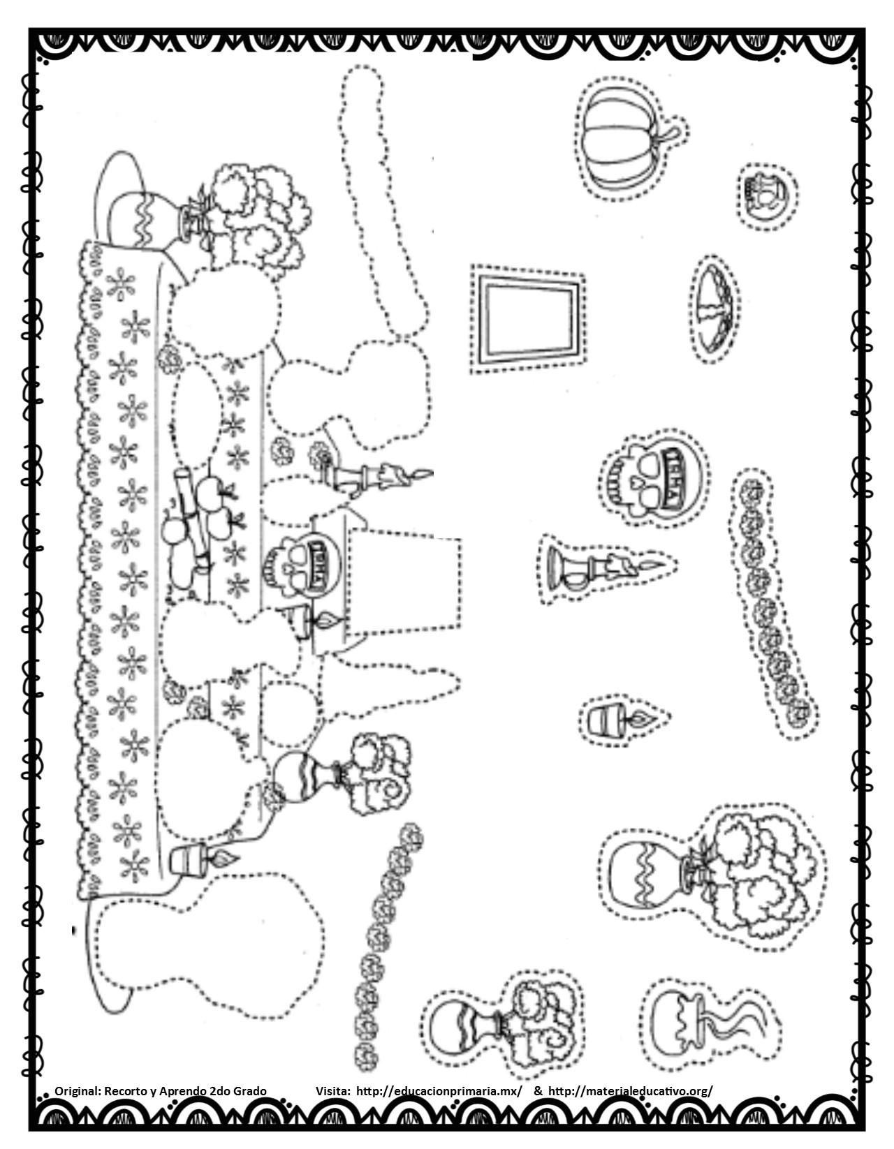 Altares Y Ofrendas Del Día De Muertos Para Colorear