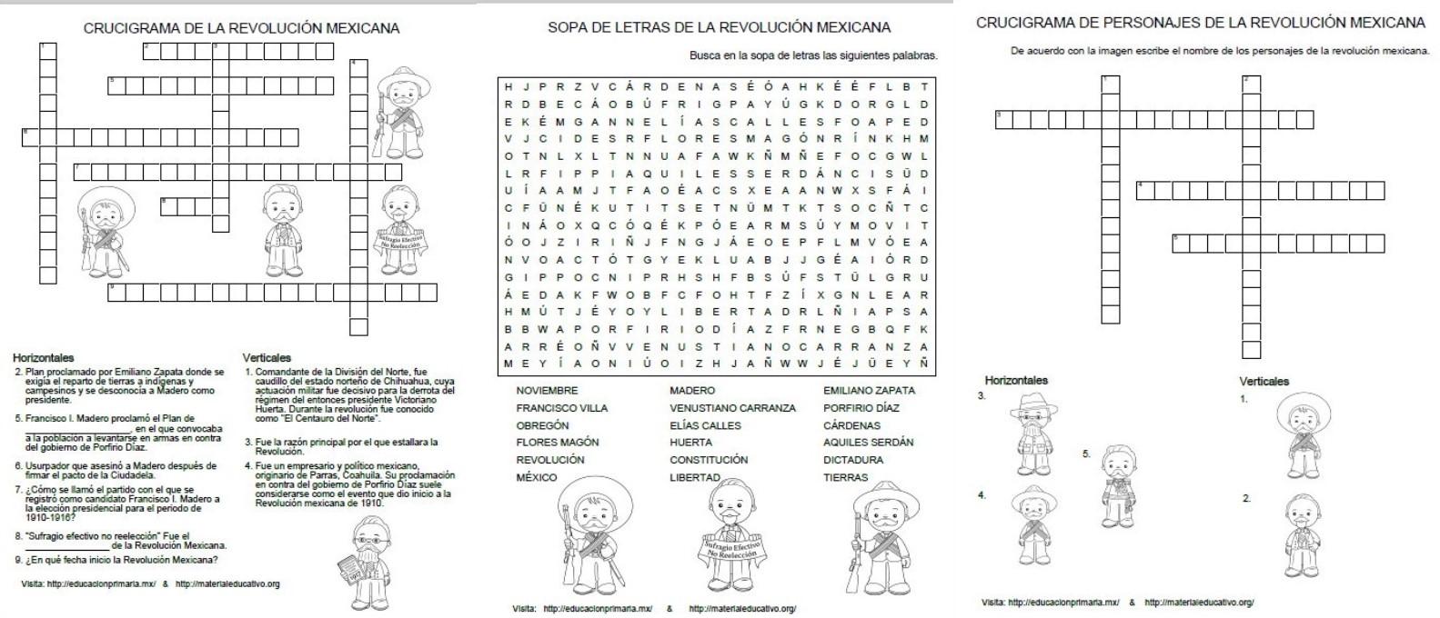 Crucigramas Y Sopa De Letras De La Revolución Mexicana Material