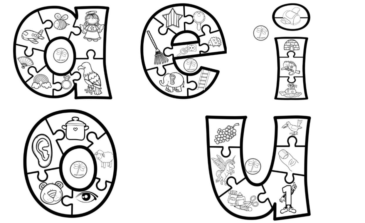Vocales Ilustradas Para Colorear Y Aprender, Preescolar Y