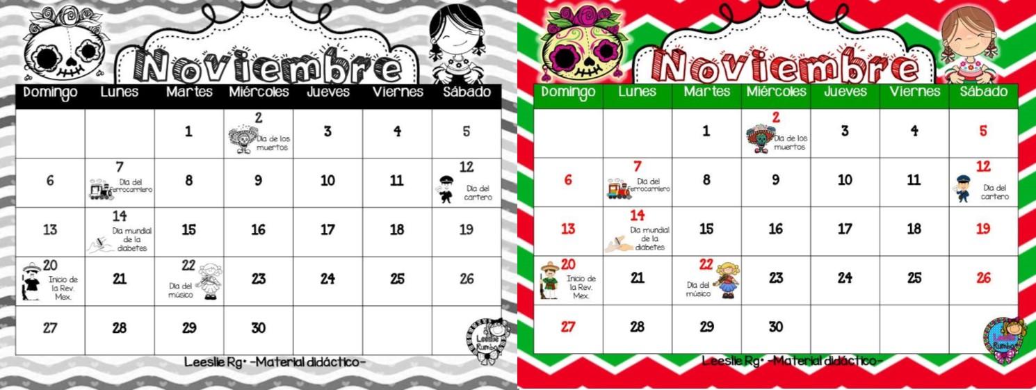 Bonito y til calendario del mes noviembre material educativo - Mes noviembre 2017 ...