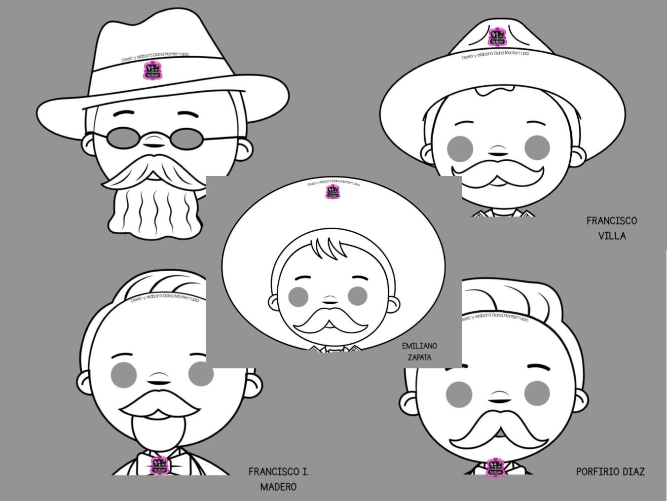 Fabulosas Mascaras De Personajes De La Revolucion Mexicana