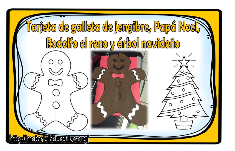 Maravillosa tarjeta de galleta de jengibre, Papá Noel, Rodolfo el ...