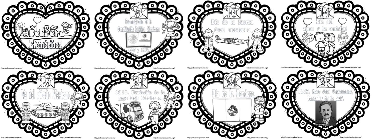 Hermosos Diseños Para Colorear De Las Efemérides Del Mes De Febrero