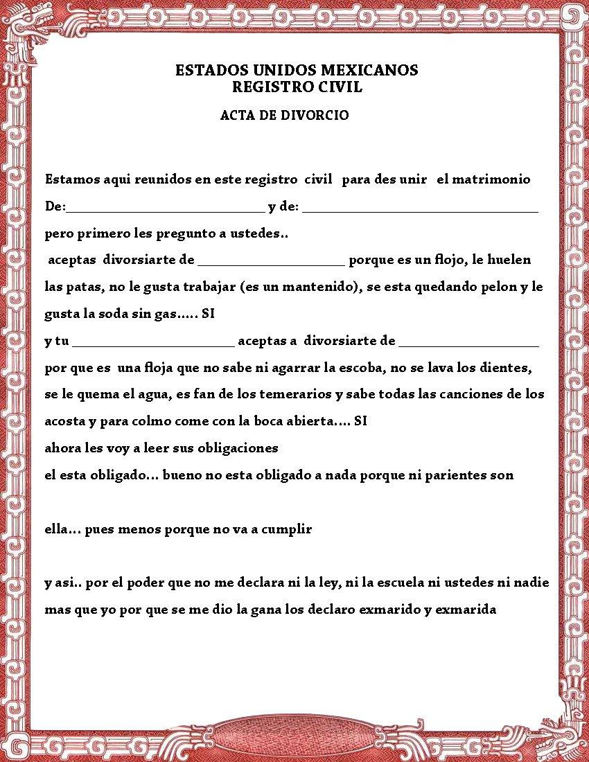 Acta De Matrimonio Y Divorcio Para La Kermes O Festival Del Dia Del