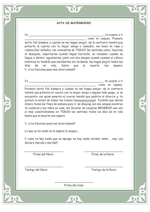 Acta de matrimonio y divorcio para la kermes o festival ...