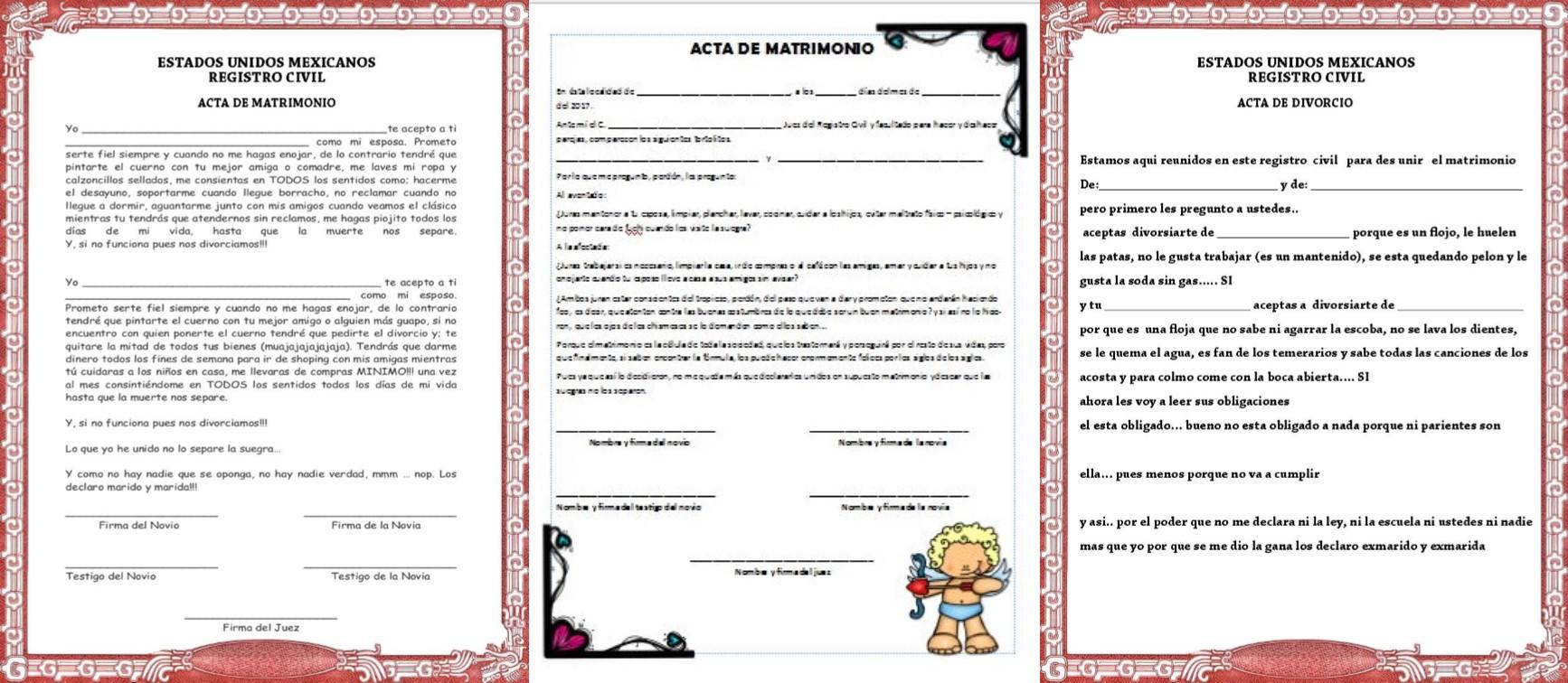 Matrimonio Y Divorcio : Acta de matrimonio y divorcio para la kermes o festival