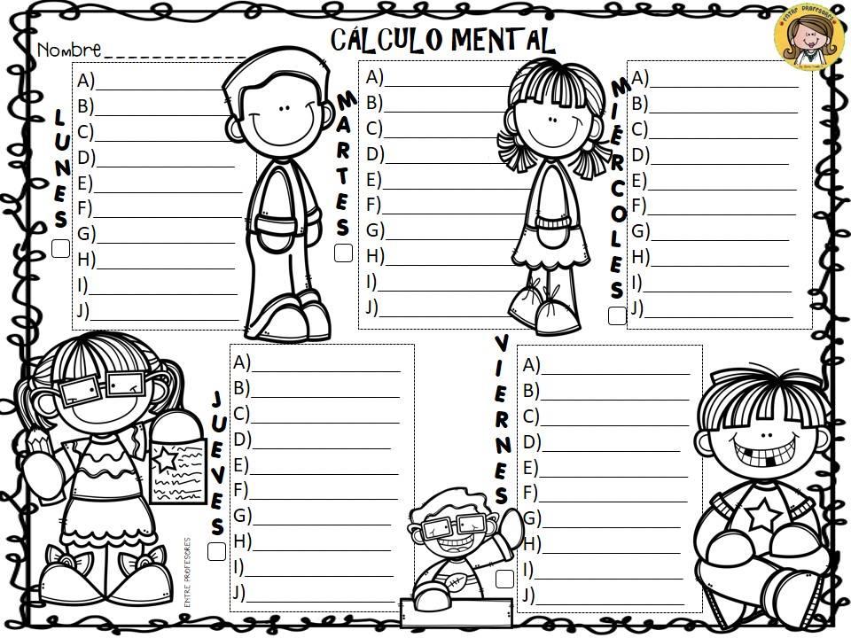 Registro de lectura diaria, cálculo mental y dictado semanal ...