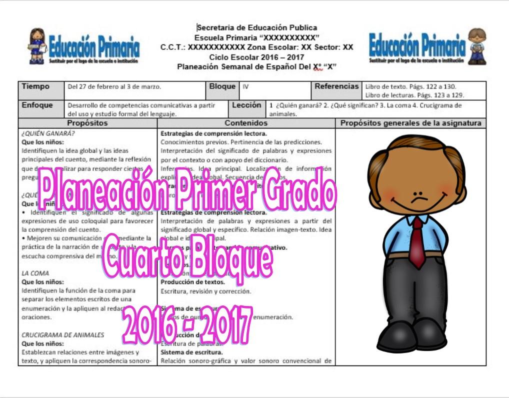 Planeaciones del primer grado del cuarto bloque ciclo for Cuarto grado de primaria