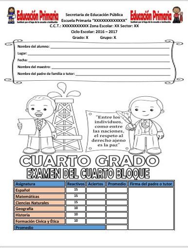 Examen del cuarto grado para el cuarto bloque del ciclo for Cuarto grado de primaria
