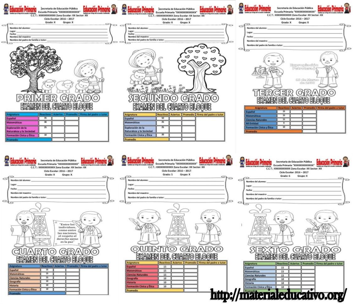 Ex menes del cuarto bloque de todos los grados del ciclo for Cuarto grado de primaria