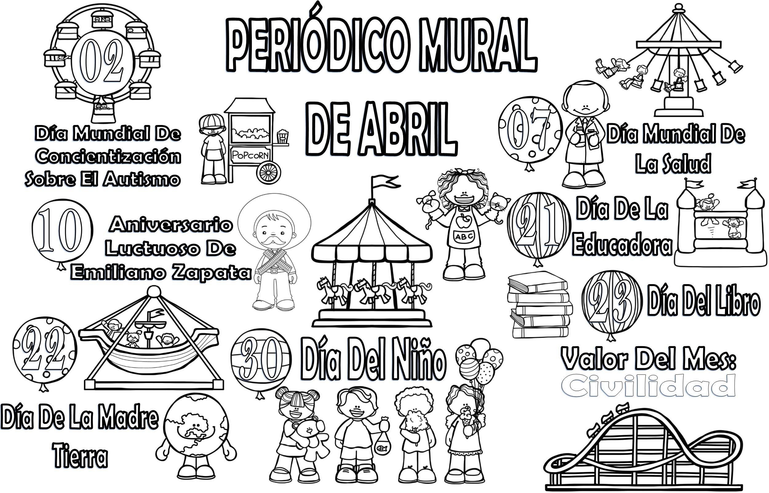 Fabuloso dise o del peri dico mural del mes de abril for Estructura del periodico mural
