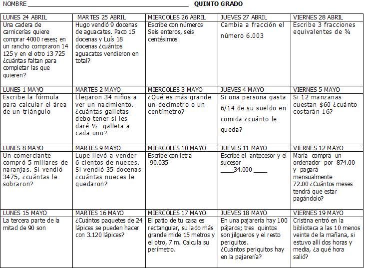 Excelentes calendarios matemáticos de primer a sexto grado de ...