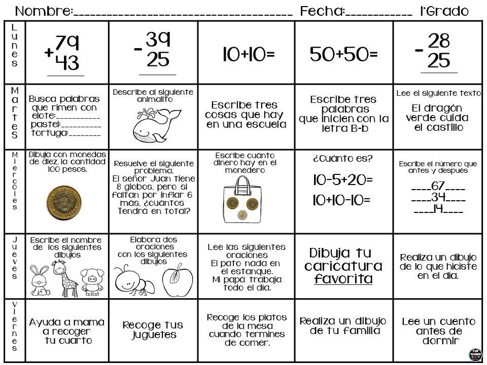 Excelente calendario de actividades para vacaciones de primer a ...