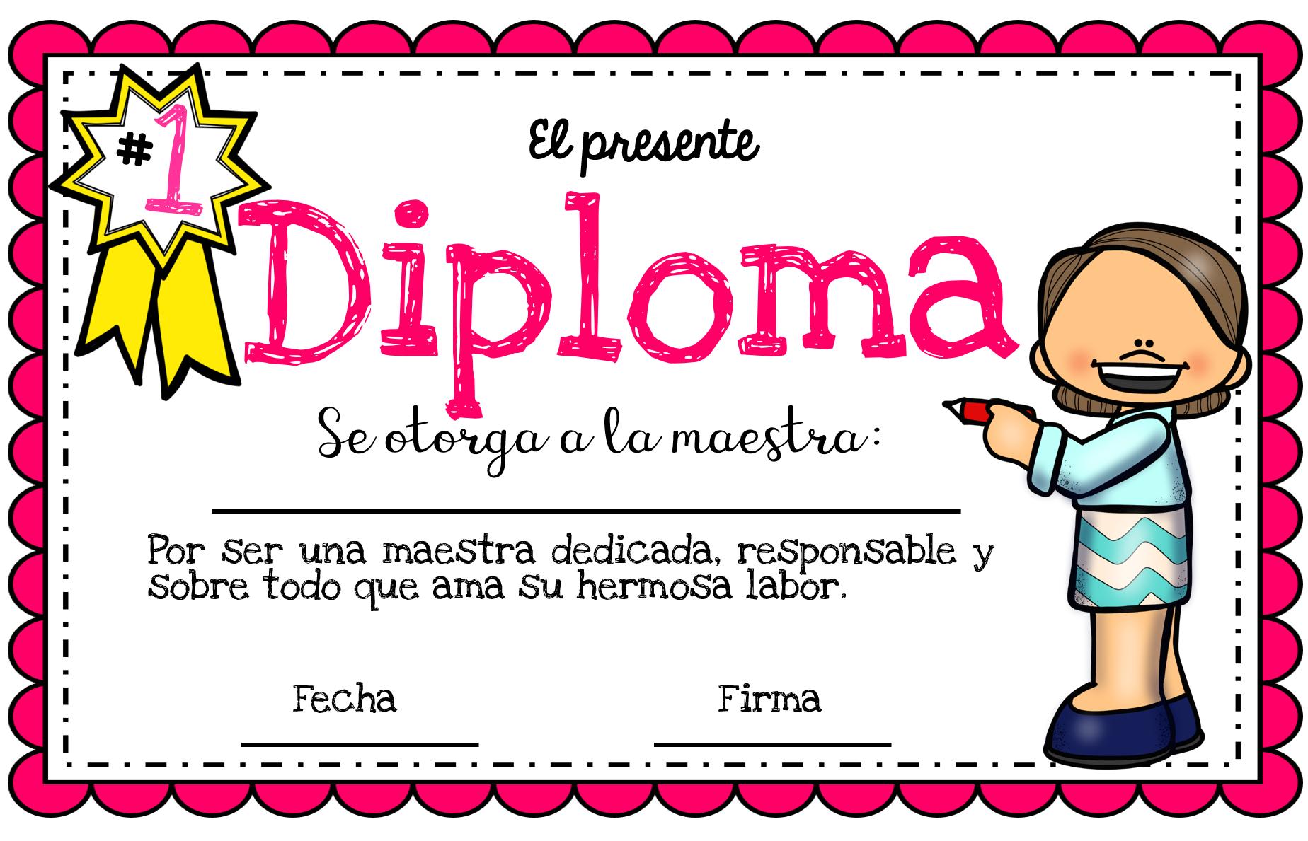 Excelentes diplomas del día del maestro | Material Educativo