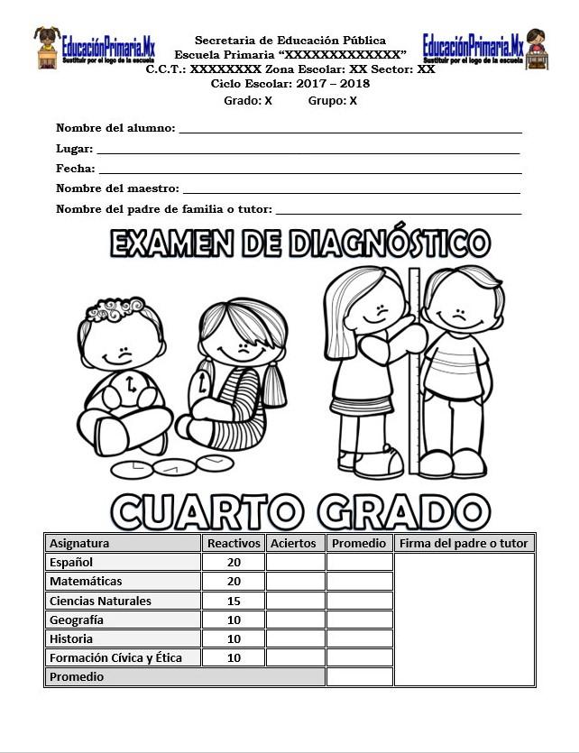 Examen de diagnóstico del cuarto grado para el ciclo escolar 2017 ...