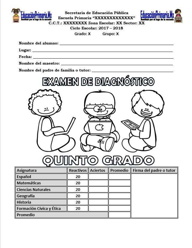 Examen de diagnóstico del quinto grado para el ciclo escolar 2017 ...