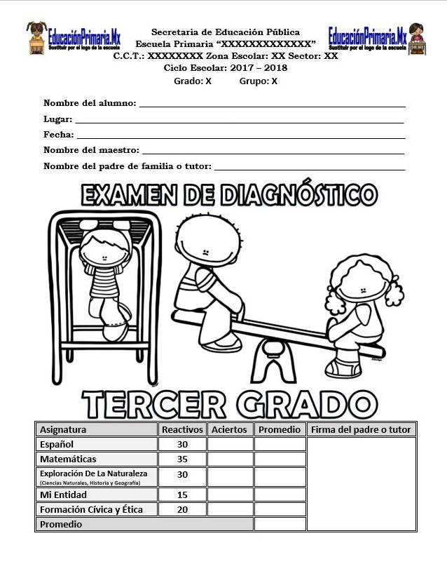 Examen de diagn stico del tercer grado para el ciclo for Examen para plazas docentes 2017