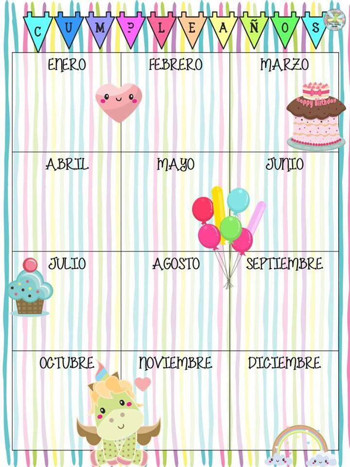 fabulosos y lindos dise u00f1os de calendarios para los cumplea u00f1os de nuestros alumnos