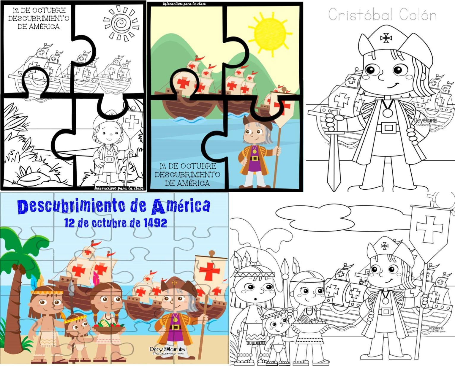 Excelentes Dibujos Y Rompecabezas Del Descubrimiento De