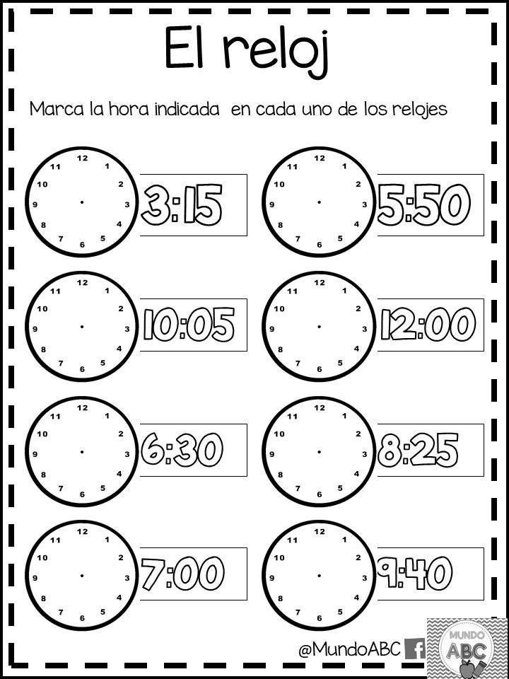 Excelentes actividades para el uso del reloj y el tiempo