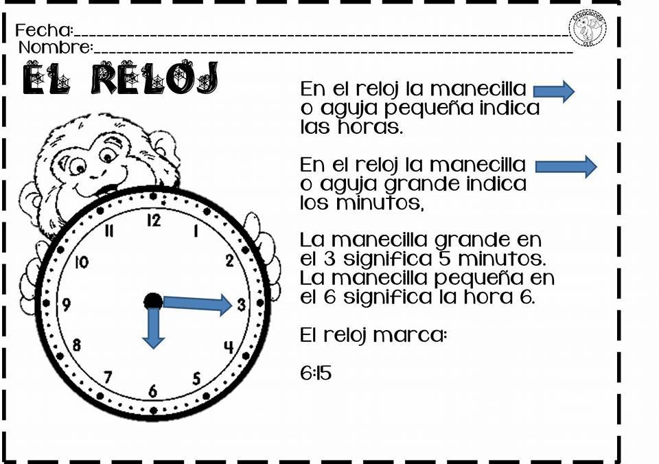 Maravillosas actividades para trabajar el tiempo, el reloj