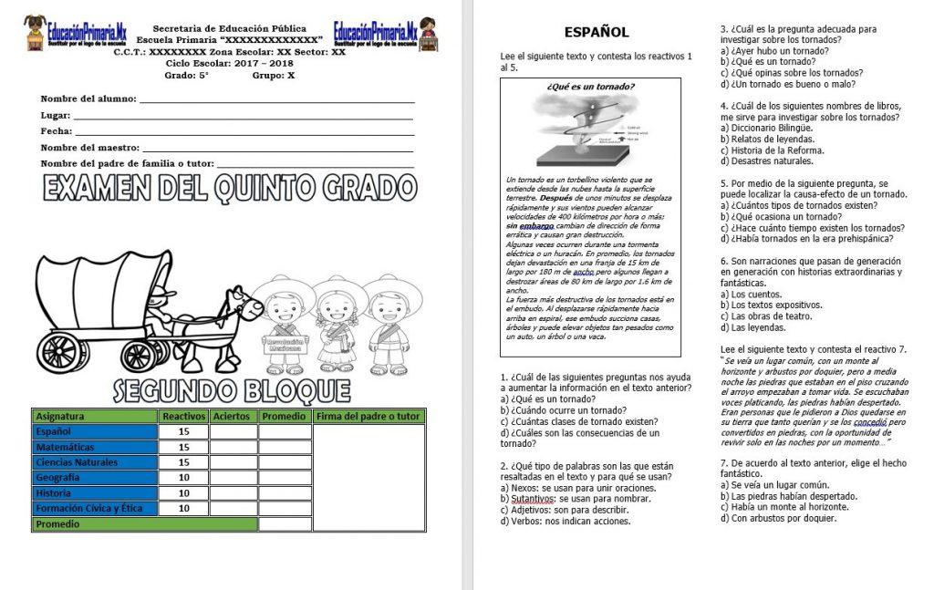 Examen del quinto grado para el segundo bloque del ciclo