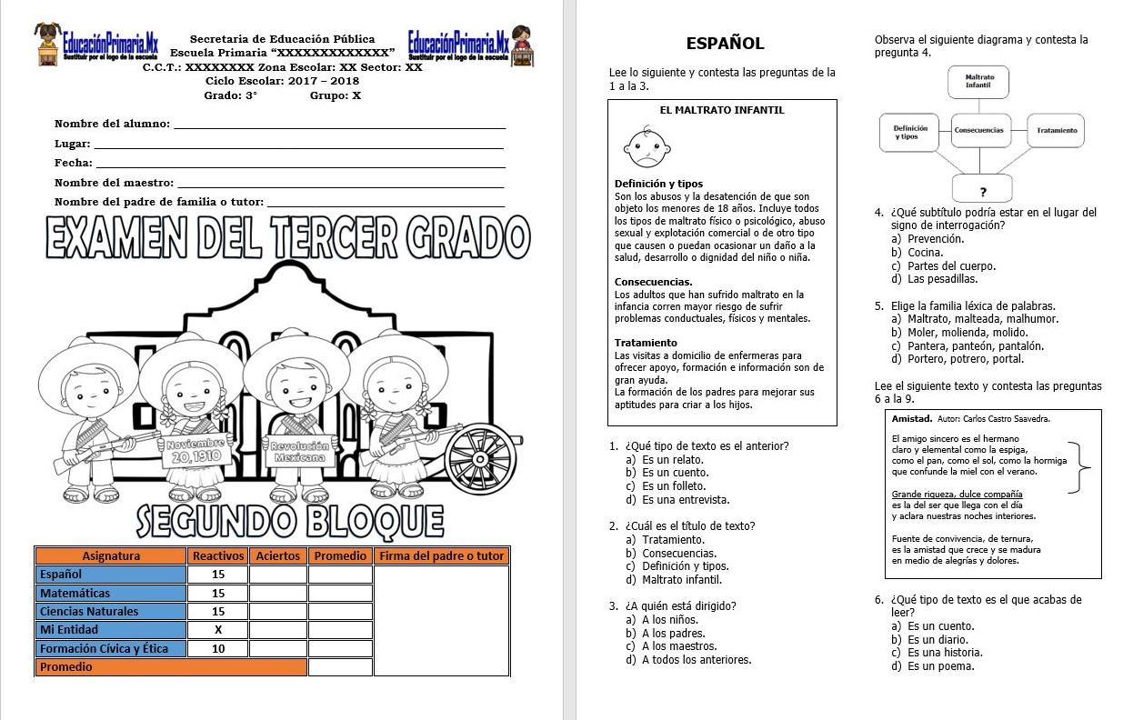 Examen del tercer grado para el segundo bloque del ciclo for Examen para plazas docentes 2017
