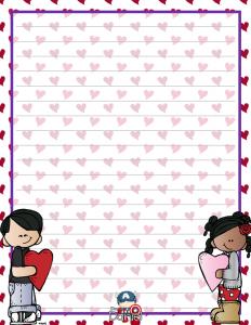 Lindas Hojas Decoradas Para El Día Del Amor Y La Amistad Material