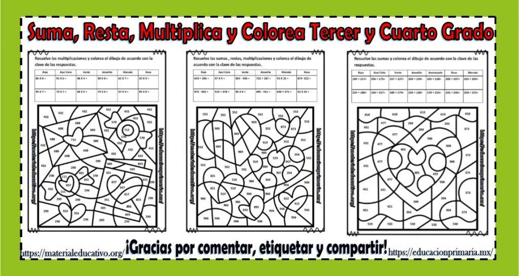 Suma Resta Multiplica Colorea Y Descubre El Dibujo Del Día Del