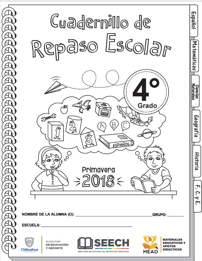 Cuadernillo de repaso escolar del cuarto grado de primaria primavera ...