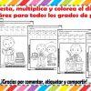Suma, resta, multiplica y colorea el dibujo de Benito Juárez de todos los grados de primaria