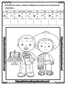 Suma Resta Colorea Y Descubre El Dibujo De Benito Juárez De Primer