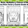 Suma, resta, multiplica y colorea el dibujo de Benito Juárez de tercer y cuarto grado de primaria
