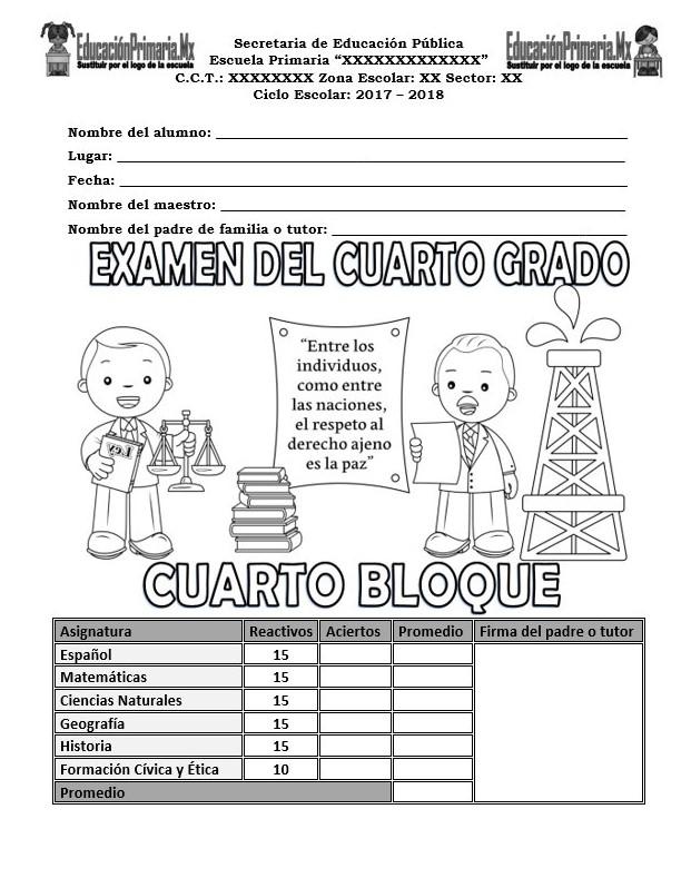 Examen del cuarto grado del cuarto bloque para el ciclo escolar 2017 ...