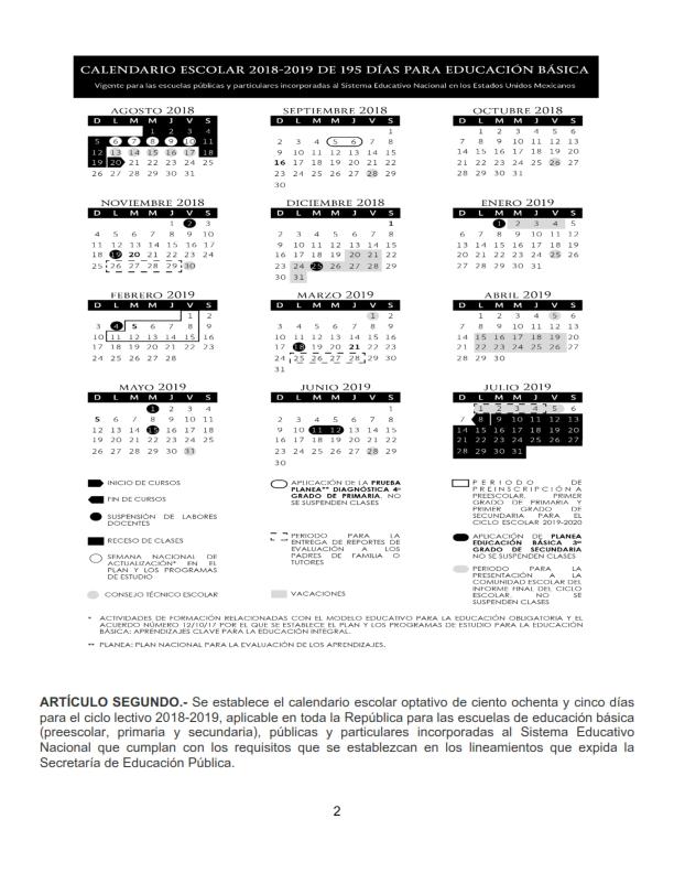 Calendario Escolar 2020 Sep Cdmx.Calendario Escolar 2018 2019 De 195 185 Y 200 Dias Sep