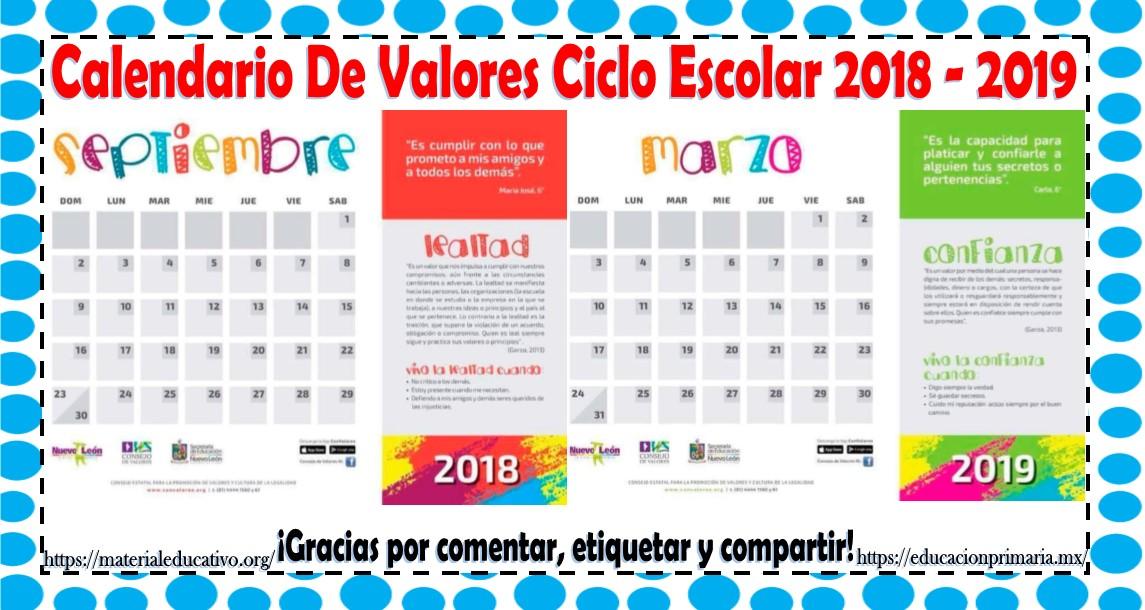 Calendario Para Ninos De Kinder.Calendario De Valores Ciclo Escolar 2018 2019 Material