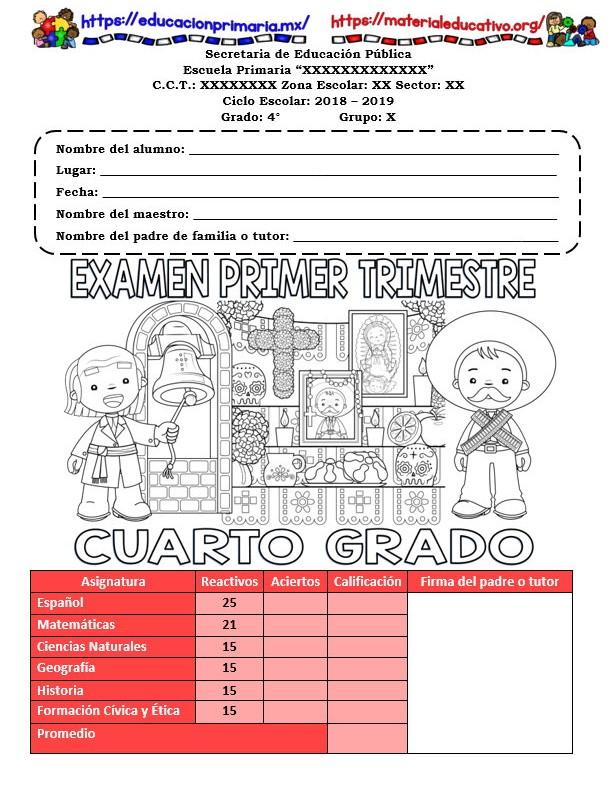 Examen del primer trimestre del cuarto grado del ciclo escolar 2018 ...