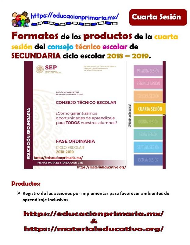 Formatos de los productos para la cuarta sesión del consejo técnico ...