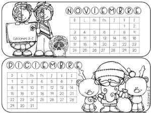 Calendario Dibujo Blanco Y Negro.Genial Calendario 2019 A Color Blanco Y Negro Material