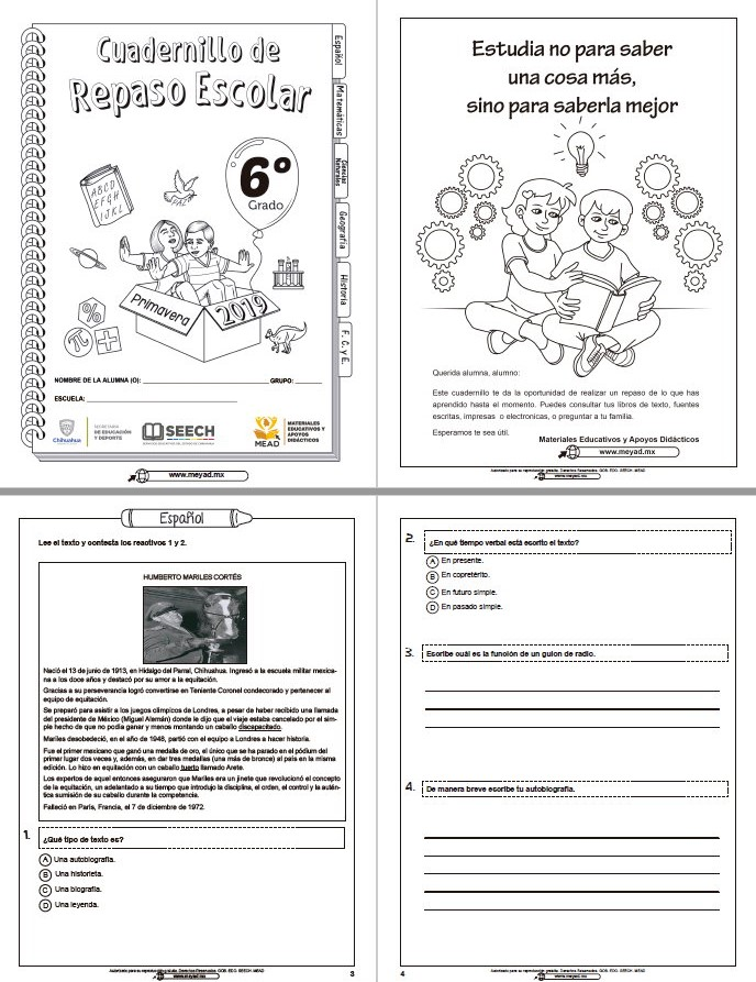 Cuadernillo De Repaso Escolar De Sexto Grado De Primaria Primavera 2019 Material Educativo